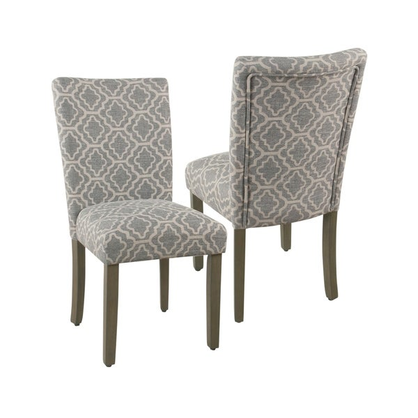 Shop HomePop Parsons Ash Grey Geometric Dining Chair (Set