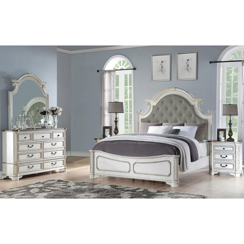 Best Master Furniture 5 Pieces Antique White Panel Bedroom Set