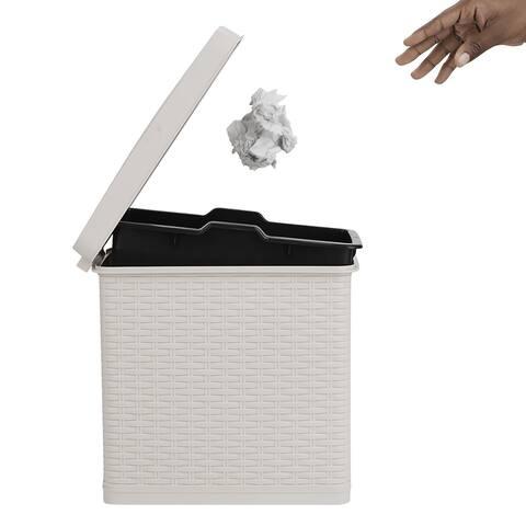 Mind Reader Step Trash Can,Wastebasket,Garbage Bin,Home,Office,Ivory