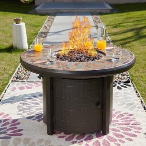 PATIO FESTIVAL ® 50000 BTU Propane Fire Pit Table with Lava Stone