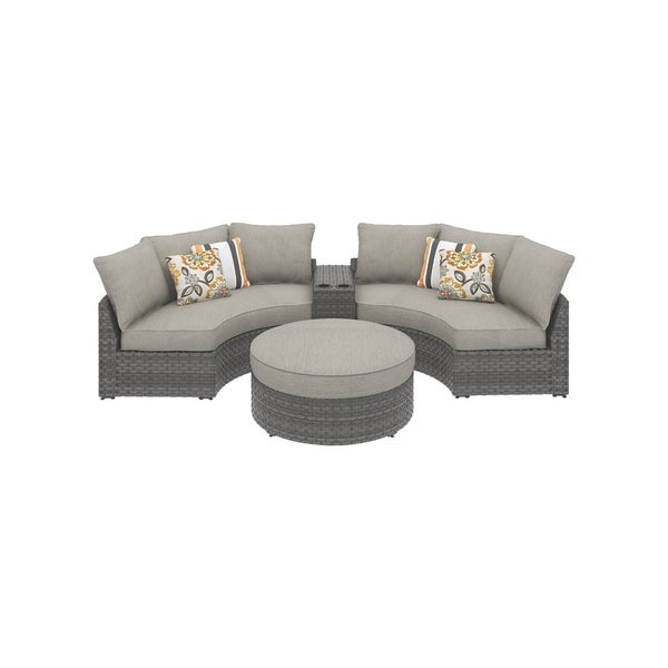 Shop Spring Dew 4 Piece Outdoor Sectional 2 Curved Corner Chairs