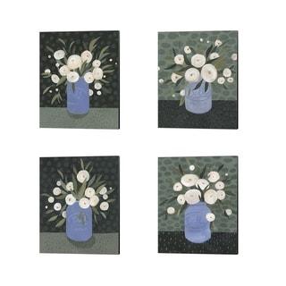 Emma Scarvey 'Mason Jar Bouquet' Canvas Art (Set of 4)