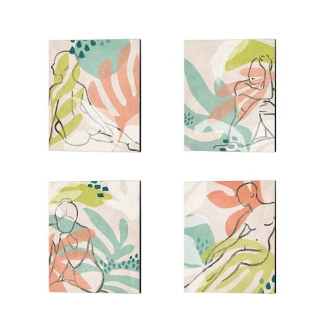 June Erica Vess 'Tropical Nude' Canvas Art (Set of 4) - 12 x 15
