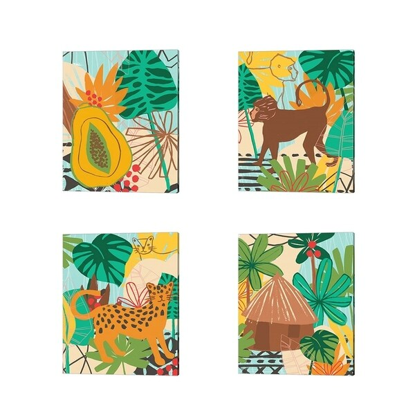 June Erica Vess 'Graphic JungleI' Canvas Art (Set of 4)