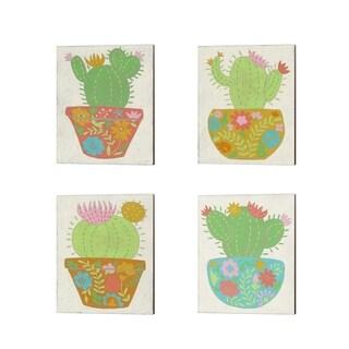 Chariklia Zarris 'Happy Cactus' Canvas Art (Set of 4)