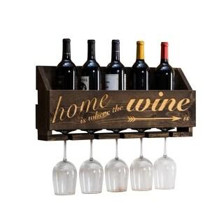"Handmade Luxe Laser Engraved ""Home is"" Wine Rack"