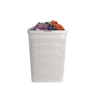 Mind Reader 40 Liter Slim Laundry Basket, Laundry Hamper, Ivory