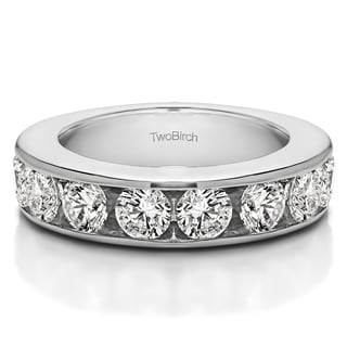 14k Gold 10 Stone Open Ended Channel Set Wedding Ring Mounted With Diamonds G H I2 1 Cts Twt