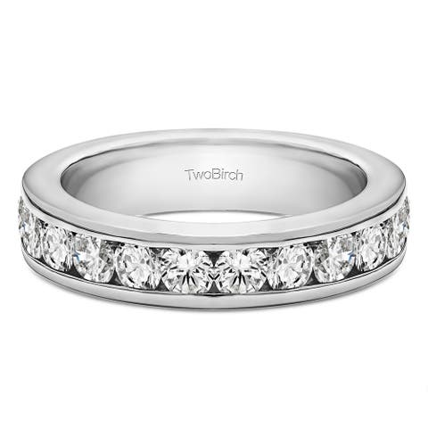 5b3688519494f Platinum Twelve Stone Channel Set Straight Wedding Ring mounted with  Diamonds (G/H,