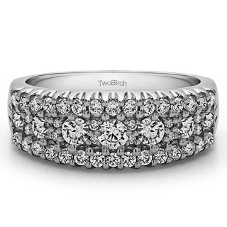 Platinum Three Row Shared Prong Wedding Ring Mounted With Diamonds G H I2 1 02 Cts Twt