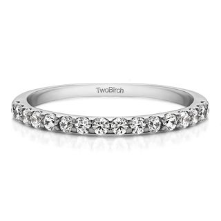 Platinum Double Row Infinity Wedding Band mounted with Diamonds (G/H, I2)(0.48 Cts. twt)