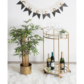 Kate and Laurel Deveaux Gold Metal 2-tier Mirror Tray Cart