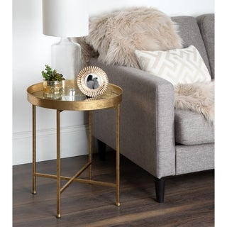Kate and Laurel Celia Round Metal Side Table - 18.25x18.25x22