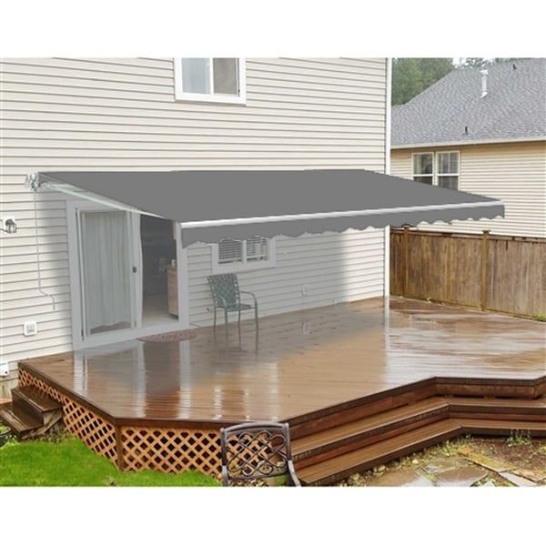 ALEKO Outdoor Garden Retractable Patio Awning 6.5X5 ft Grey