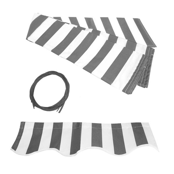ALEKO Replacement Fabric for Patio Retractable 10 x 8 ft Awning Grey/White