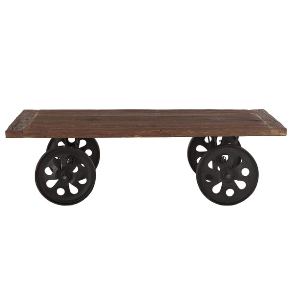 Artezia 64-Inch Reclaimed Teak Coffee Table with Wheels