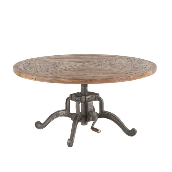 Artezia 42-Inch Round Coffee Table with Adjustable Crank