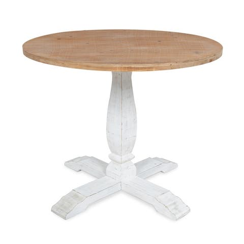 Kate and Laurel Bellmead Distressed Round Dining Table