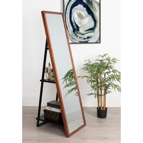 Kate and Laurel Museum Easel Storage Mirror - Brown - 16x60