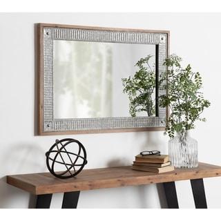 Kate and Laurel Deely Wood and Metal Wall Mirror - Rustic Brown - 27x39