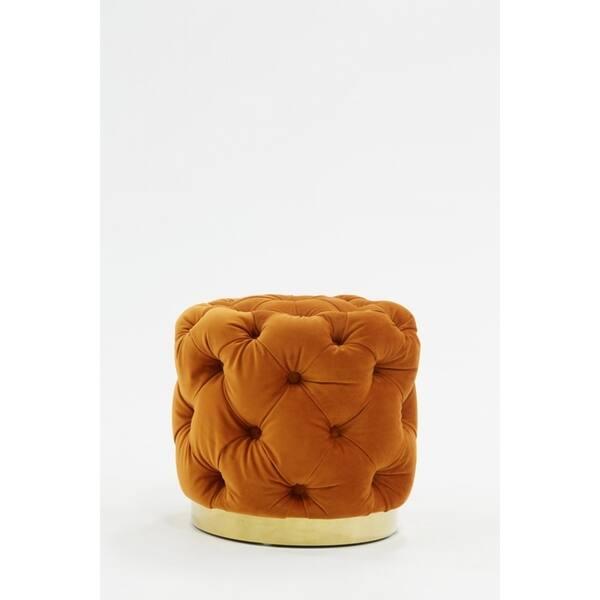 Astounding Divani Casa Duarte Modern Orange Velvet Ottoman Andrewgaddart Wooden Chair Designs For Living Room Andrewgaddartcom