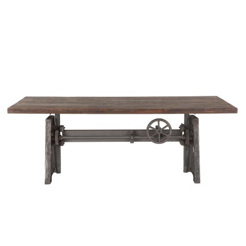 Artezia 84-Inch Reclaimed Teak Wood Dining Table with Adjustable Crank - Brown