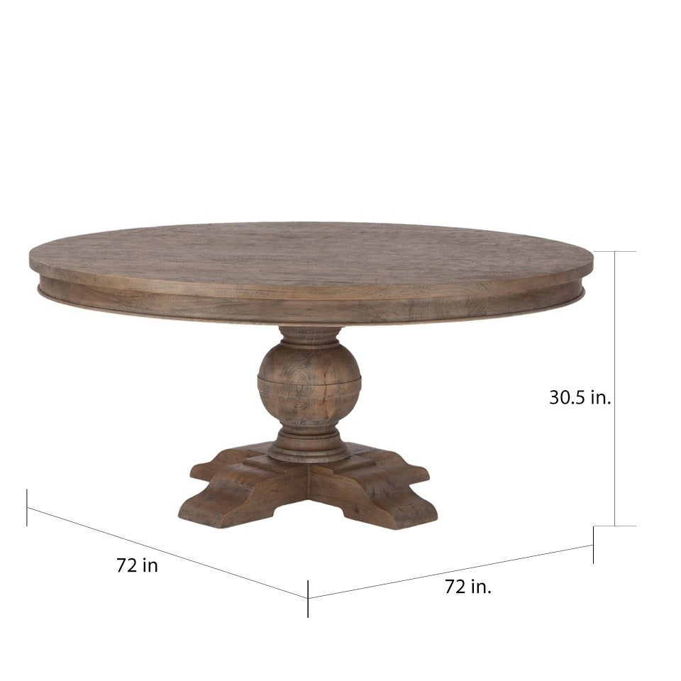 Copper Grove Asperg Brown Weathered Teak 72 Inch Round Dining Table