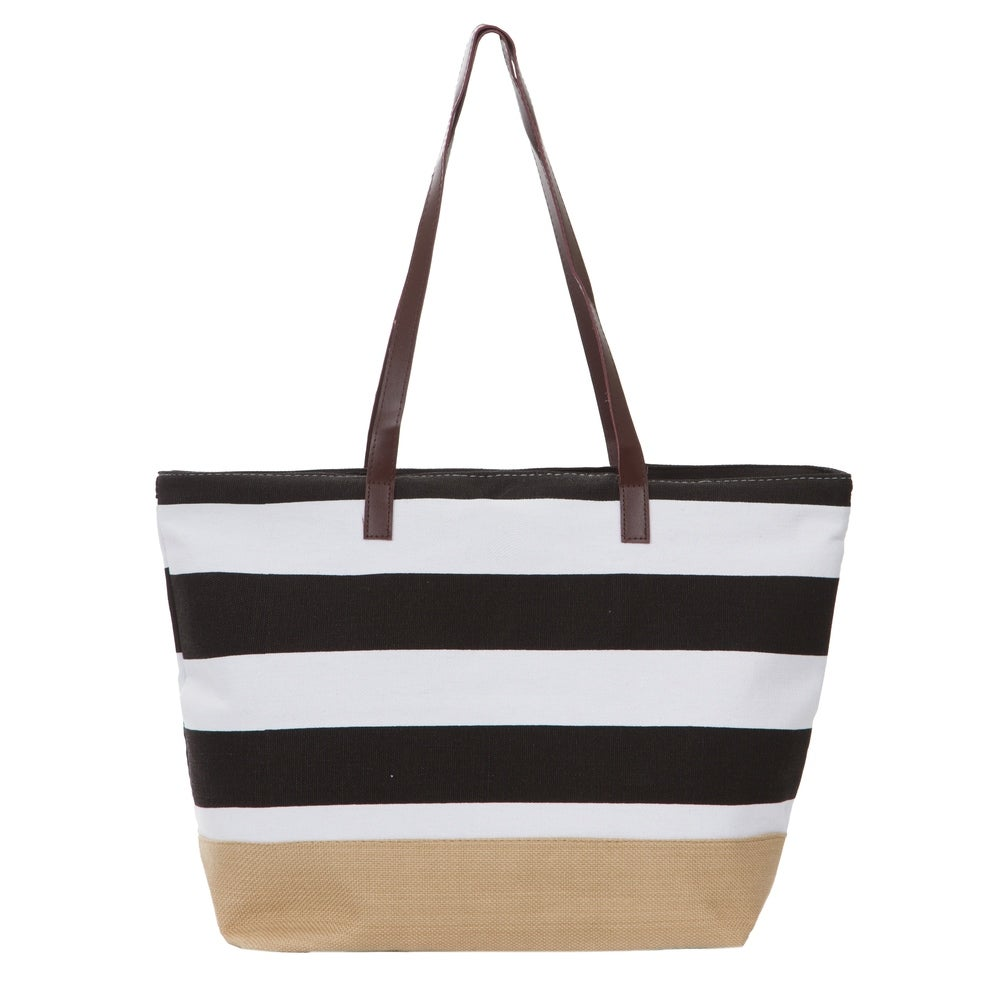 Top Ten  Stripe Canvas Tote with Faux Leather Handles