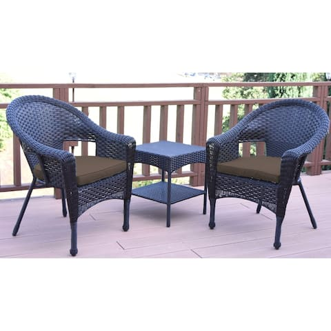 Set of 3 Espresso Resin Wicker Clark Single Chair with 2 inch Brown Cushion and End Table