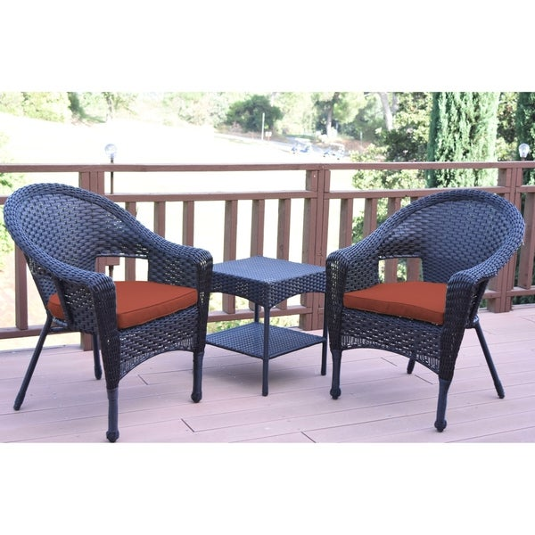 Set of 3 Espresso Resin Wicker Clark Single Chair with 2 inch Brick Red Cushion and End Table