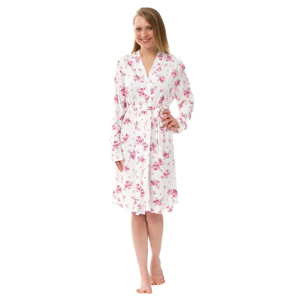 Womens Knit Robe Knit Floral Robe