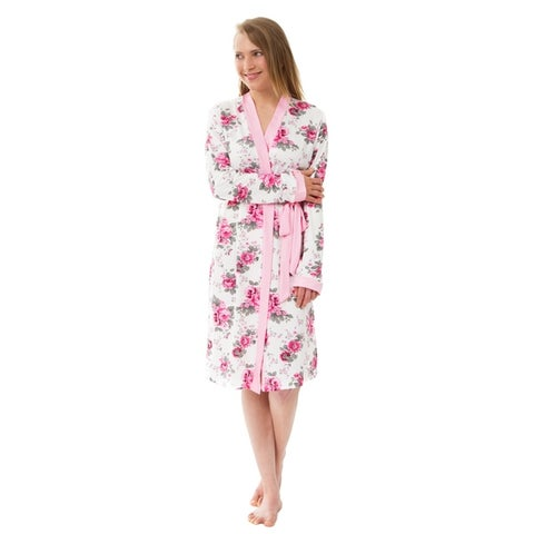 Women's Knit Robe, Rose Floral Knit Robe