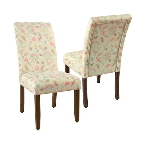 HomePop Parsons Dining Chair - Multicolored Pastel Floral (set of 2)