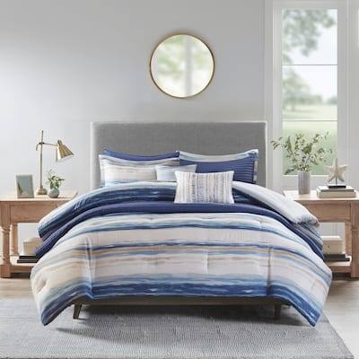 Madison Park Anchorage Blue 8 Piece Printed Seersucker Comforter and Coverlet Set Collection