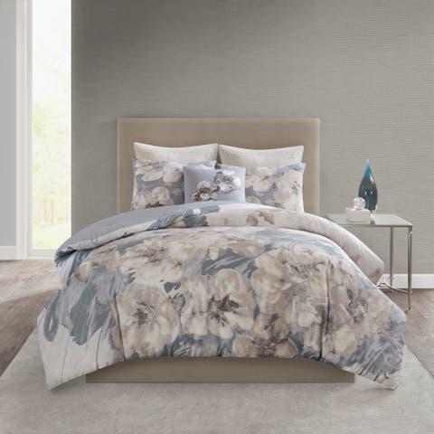 N Natori Casa Nouveau Grey 3 Piece Metallic Print Cotton Comforter Set