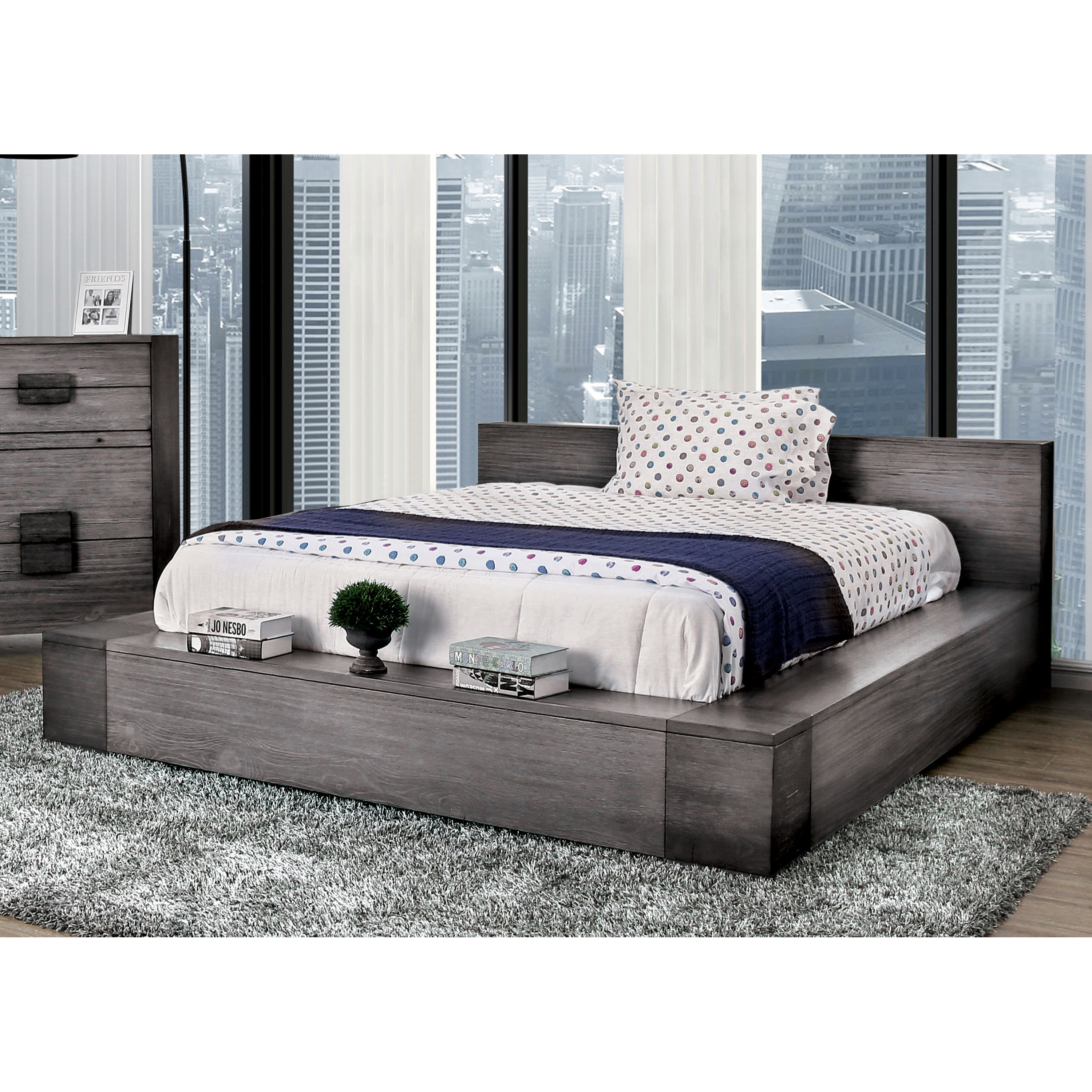 Furniture Of America Fist Contemporary Grey Wood Platform Bed Overstock 26972223 California King