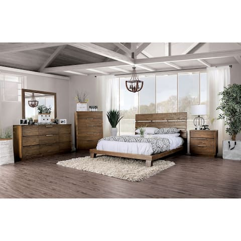 The Curated Nomad Annika Rustic Walnut Low Profile Bed