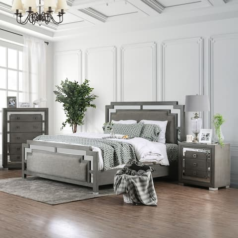 Silver Orchid Kellerman Contemporary Grey Upholstered Bed