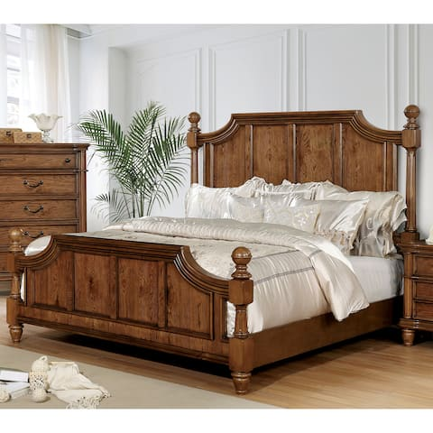 Flynn Traditional Light Oak Four Poster Bed by FOA