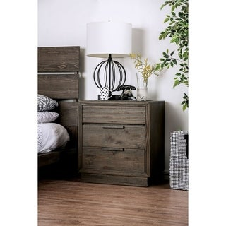 Furniture of America Tood Rustic Walnut Wood 3-drawer Nightstand
