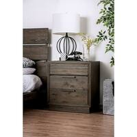 Furniture of America Chester Rustic Walnut Wood 3-drawer Nightstand