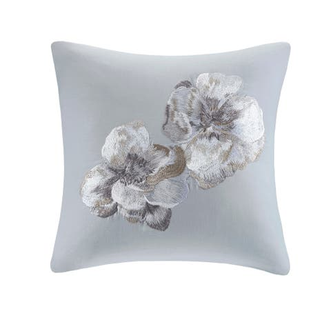 N Natori Casa Nouveau Grey Embroidered Cotton Square Decorative Pillow
