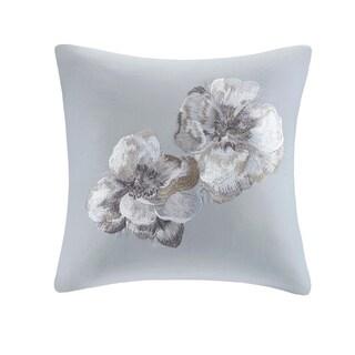 N Natori Casa Nouveau Grey Cotton Embroidered Square Decorative Pillow