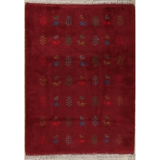 "Gabbeh Tribal Hand Knotted Wool Persian Area Rug - 4'9"" x 3'5"""