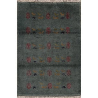 """Gabbeh Tribal Hand Knotted Wool Persian Area Rug - 4'10"""" x 3'3"""""""