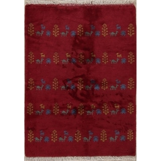 """Gabbeh Tribal Hand Knotted Wool Persian Area Rug - 4'8"""" x 3'2"""""""