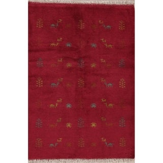 """Gabbeh Tribal Hand Knotted Wool Persian Area Rug - 4'10"""" x 3'5"""""""