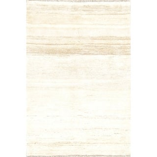 """Gabbeh Contemporary Solid Hand Knotted Wool Persian Area Rug - 4'11"""" x 3'5"""""""
