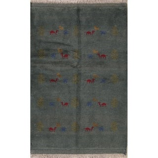 "Gabbeh Tribal Hand Made Wool Persian Area Rug - 5'1"" x 3'5"""