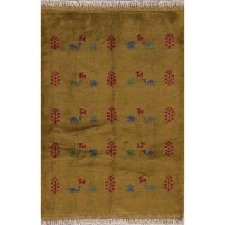 "Gabbeh Tribal Hand Made Wool Persian Area Rug - 5'1"" x 3'7"""